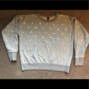 J. Crew Large Sweatshirt with Metallic Hearts